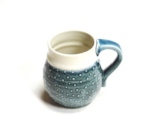 Teal Ceramic Mug,Dotted clay cup,Pottery teacup,wheel thrown mug,Medium coffee cup,pottery dinnerware,stoneware mug,cream and blue cup