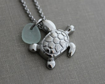 Sea Turtle Cremation Urn Pendant - Stainless Steel with Genuine Sea Glass - Personalized beach memorial Charm - Memorial for Beach Lover