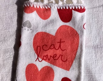 Cat Lover Hanging Kitchen Towel with Universal Hang