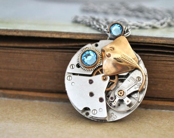 steampunk necklace - UNDER THE SEA - vintage watch movement necklace with brass stingray fish charm