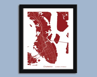 Charleston map, Charleston city art map, Charleston wall art poster, Charleston decorative map