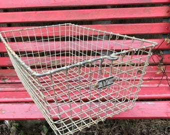 Vintage  Industrial Wire Locker Basket