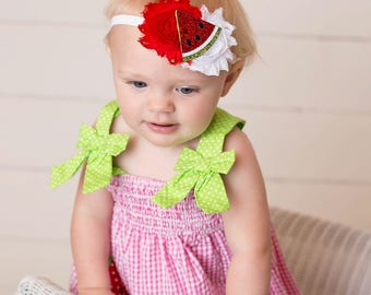 Watermelon headband - Watermelon birthday - Watermelon hair bow  -  Watermelon hair clip - Baby watermelon - Watermelon 1st birthday