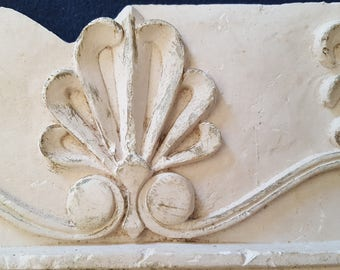 Vintage Handmade Architectural Salvage Molding Cast Plaster Home Decor  Fleur De Lis Greek Roman