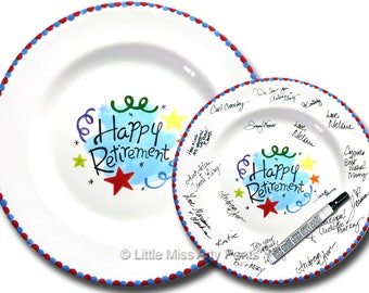 Free Shipping -Hand Painted Signature Plate -Happy Retirement Design -Retirement Gift -Happy Retirement - Guest Book plate - Retirement gift
