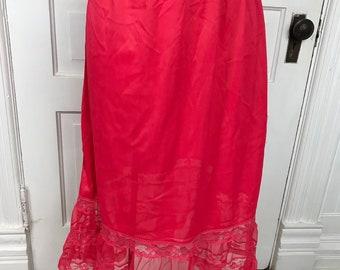 Vintage 1960's Era Ladies' Size Medium Red Nylon Half Slip with Lace