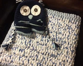 Crochet Baby Boy Hat and Blanket Set