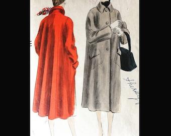 Vintage 50s Three Button Closure Car Coat Pilgrim Collar Huge Pockets Vogue 7319 B34