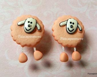 Pink Sheep Repurposed Post Earrings W/Nickel Free Backs