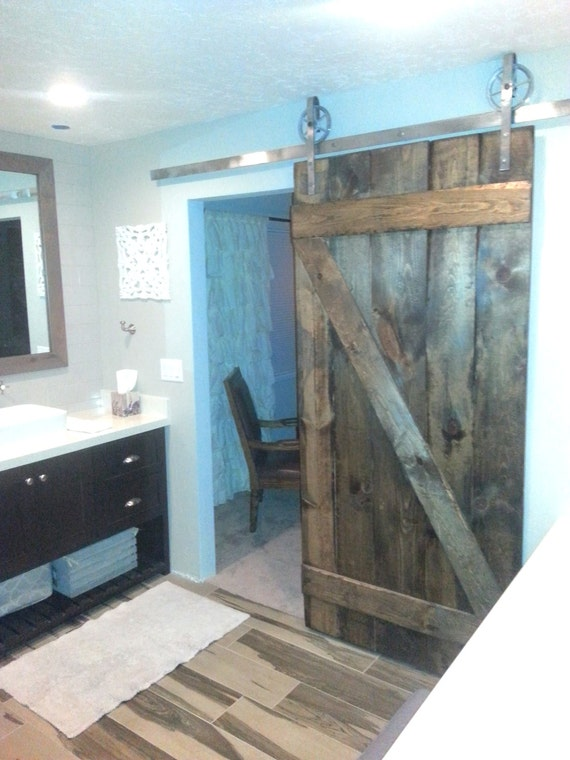 Vintage Industrial Spoked European Sliding Barn Door Closet