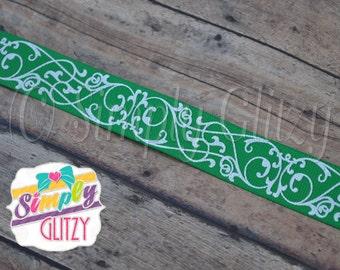5 yards EMERALD GREEN Ribbon with Swirly Swirls Damask Glitter Print 7/8 Inch Grosgrain Ribbon