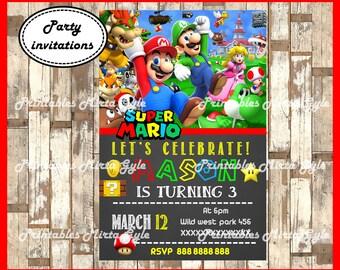 Mario Bros Invitation, printable Mario Bros Birthday Invitation, Mario Bros invitation