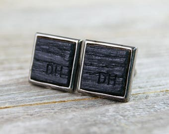 Personalized Whiskey Barrel Cufflinks / Wedding Cufflinks / Custom Engraved Groomsmen Gift / Rustic Gift / Monogrammed / Anniversary