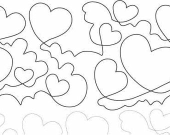 Hearts and Clouds Long Arm Pantograph