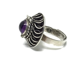Poison Ring Sterling Silver Amethyst Ring Taxco Mexico, Hair Locket Ring, Posie Ring, Vintage Silver Jewelry February Birthstone, Adjustable