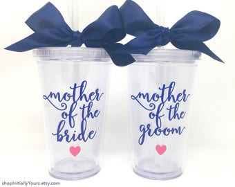 Mother of the Bride Cup, Mother of the Groom Cup, Custom Wedding Cups for Moms, Personalized Wedding Cup for Mother of Bride, Tumbler Cup