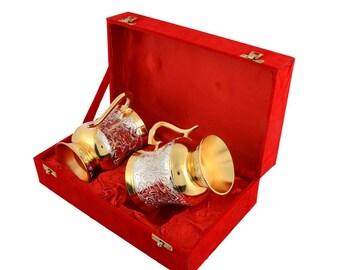 Silver & Gold  Colour Brass Coffee Mug Set 3.25'' x 4.5''
