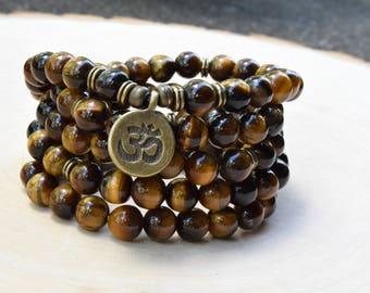 Tiger Eye 108 Mala Bead, Mala Bead, Mala Bracelet, Meditation Bracelet, Gemstone Prayer Bead Bracelet, Bead Bracelet, Protective Bead Gift
