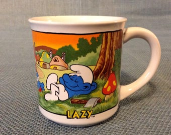 1982 Smurf Ceramic Collectible Lazy Mug - Coffee Cup - 11 oz - #1595 - Wallace Berrie