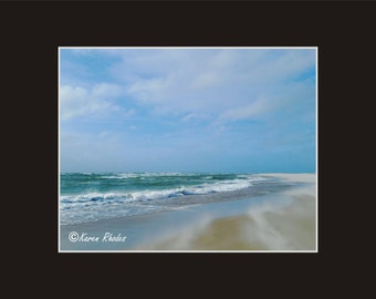 North end of Ocracoke blustery winds Photographic Print matted in black North Carolina