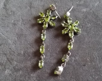 Vintage Sterling Silver and Peridot Chandelier Earrings