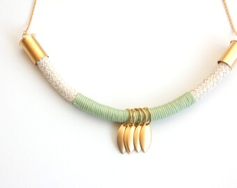 Geometric  mint and gold rope necklace , cord necklace,geometric jewelry,boho jewelry, bib necklace, statement necklace