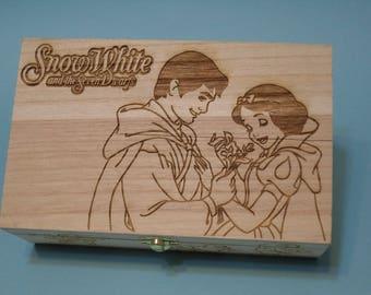 Disney Princess etched wood trinket box