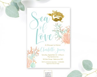 Mermaid bridal shower invitations etsy under the sea mermaid bridal shower invitation boho sea of love coral turquoise faux gold filmwisefo Images
