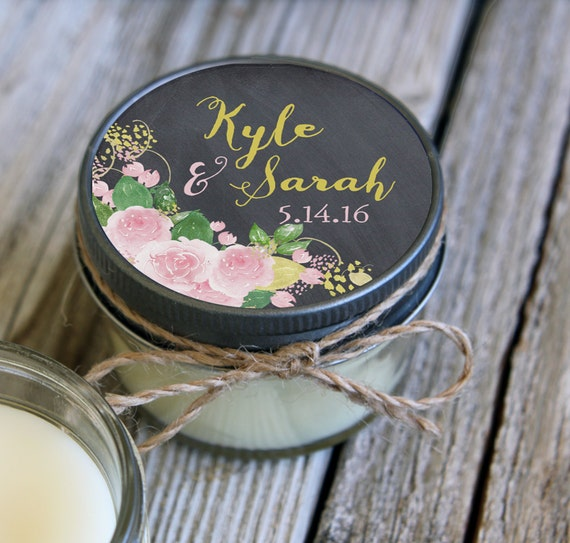 Set of 12 - 4 oz Wedding Favor Candle//Blush Wedding//Lilac Wedding//Floral Wedding Favor//Personalized Wedding//Chalkboard Favors//