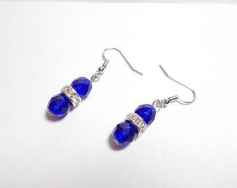 Earrings rhinestone crystal and cobalt blue Czech faceted