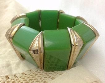 Art Deco Bakelite Wedge Stretch Link Cuff Bracelet