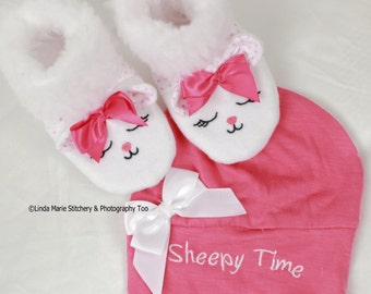 Sheepy Time Booties and Beanie Set