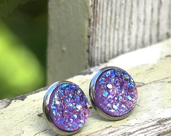 Lavender Sparkle Faux Druzy Stud Earrings, 12mm, on Stainless Steel Posts, Chunky Light Purple Glitter Studs