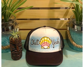 Shell Yeah!!! Hand painted adult size trucker hat in Brown