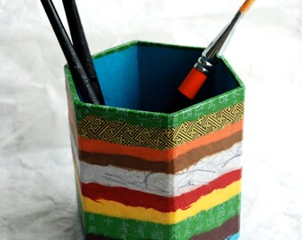 Hanji Horizontal Lines Patchwork Pen Holder Pencil Case Desktop OOAK Paper Multicolor Blue Organic Design
