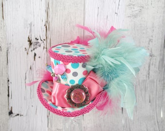 Pink White and Teal Polka Dot Medium Mini Top Hat Fascinator, Alice in Wonderland, Mad Hatter Tea Party, Derby Hat