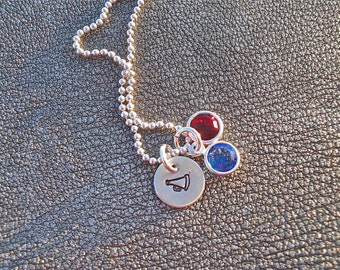Personalized Sport or Activities Hand Stamped Sterling Silver Charm Necklace with Swarovski Crystal for Team Colors - Senior Night Gift