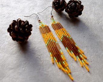 Orange Brown and Green, Modern Native American Beaded Earrings