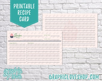 Digital 3x5 Double Sided Cupcake Recipe Card | Dessert, Pasteries, Sweet, Baking | High Res JPG Files, Instant Dowload, Ready to Print