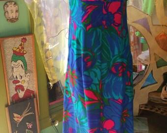 60s 70s electric blue Hawaiian maxi dress phychedelic tiki bombshell summer boho pinup festival