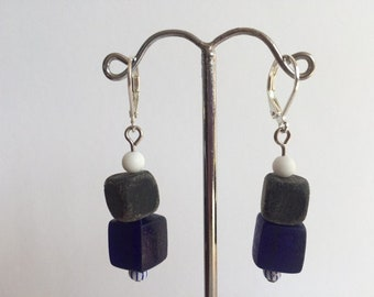 Earring dangle Navy Blue and gray