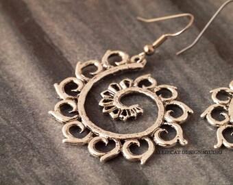Bohemian Earrings   Boho Silver Flower Vine Earrings   Silver Flower Vine Earrings   NEW