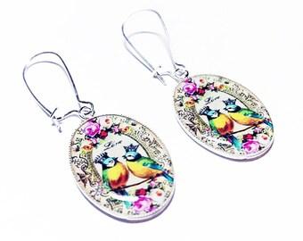 Whimsical Bird Earrings, Birds in Crowns Jewelry, Dangle Earrings, Blue, Yellow, Pink, Roses, Flowers, Handmade, Gift for Her, Handmade