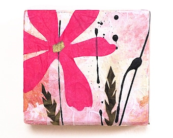 Mixed media flower wall art, reclaimed wood block, collage, bright pink flower decor, cheerful, handmade original