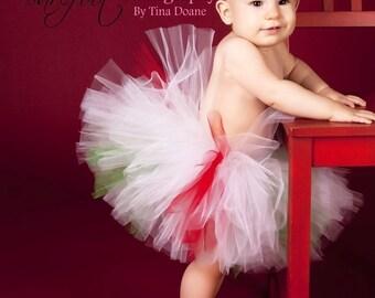 Christmas Tutu - red white green tutu - Christmas Candy Cutie - Custom Sewn 8'' Tutu - peppermint tutu - sizes Newborn to 5T