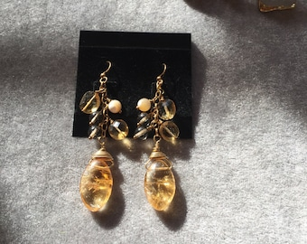 Amber drop earrings with mother of pearl, citrines, and 14kt gold chain