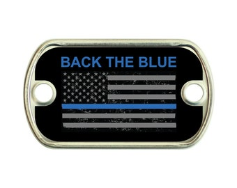 Back The Blue 2 Holes Stainless Steel Mini Dog Tag For Paracord Bracelets