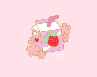 Hanami Pupberry Milkshake Enamel Pin PREORDER, 30mm, Hard Enamel, Gold, Pink, Green, Pastel, Cute, Kawaii, Japan, Sakura, Flowers strawberry