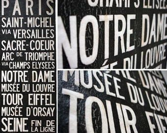 """PARIS """"Vive La France"""" Bus Scroll, Subway Art - Custom hand painted and distressed on high quality artist canvas, ready to hang 22"""" x 59"""""""