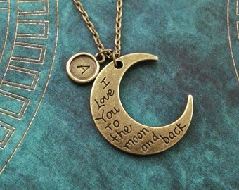 I Love You to the Moon and Back Necklace Mother's Day Necklace Moon Jewelry Gift for Mom Daughter Necklace Mom Necklace Anniversary Necklace